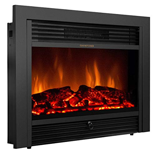 "Giantex 28.5"" Fireplace Electric Embedded Insert Heater Glass Log Flame Remote Home Giantex Infrared Heaters"