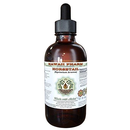Horsetail Alcohol-FREE Liquid Extract, Organic Horsetail (Equisetum arvense) Dried Herb Glycerite Hawaii Pharm Natural Herbal Supplement 4 oz