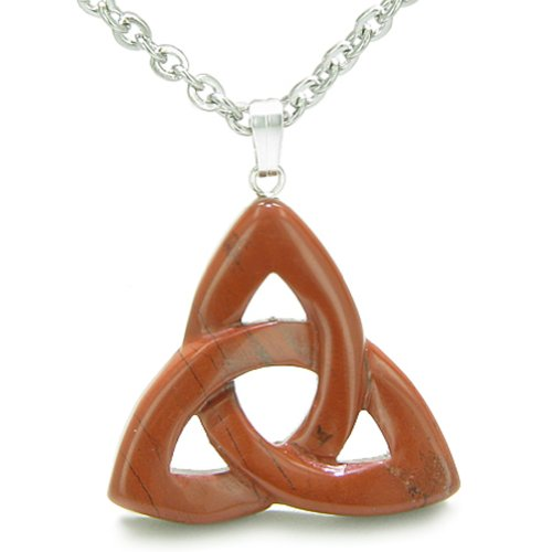 Celtic Triquetra Knot Magic Amulet Red Jasper Believe Powers Pendant 18 Inch Necklace