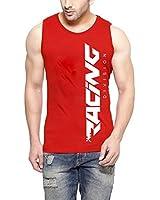 Hotfits men's red sleeveless tshirt-redrace
