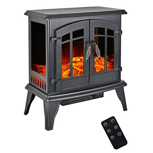 BEAMNOVA Electric Fireplace 1500W 23x21x13in Black Freestanding Heater Wood Burning Effect Portable Corner Heater, 2 Heating Modes