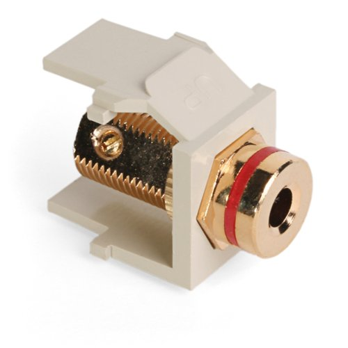 (Leviton 40837-BIR QuickPort Banana Jack Adapter, Gold-Plated with Red Stripe, Ivory)