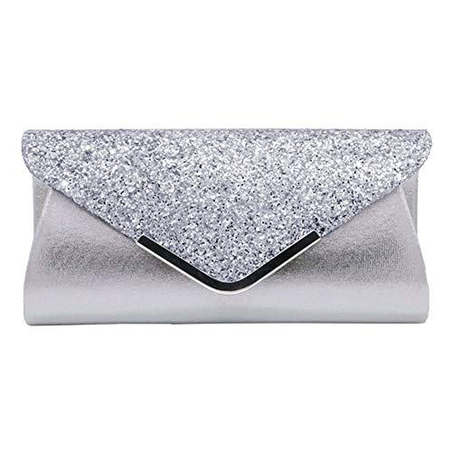 Women Glittered Envelope Clutch Purse Sequined Evening Bag Lustrous Party Handbag Shiny Shoulder Bag