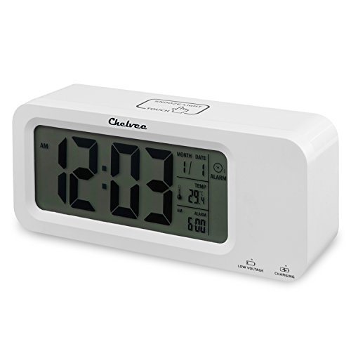 Alarm Clock,Chelvee Rechargeable Smart Alarm Clocks, Time/Date/Temperature Display , Snooze, Three Groups Alarm Time, Weekday Alarm Settings, Rechargeable Battery Operated