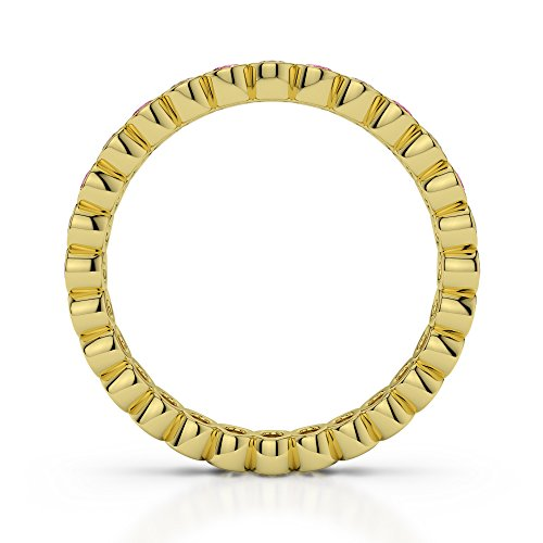 Or jaune 18carats 0,38CT G-H/VS Certifié Coupe ronde Tourmaline Rose et diamant éternité Bague Agdr-1099