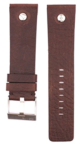ZTD212 Fit for Diesel DZ1197 Replacement 26mm Brown Leather Watch Band Strap Free Spring BAR Tool DSL131 ()