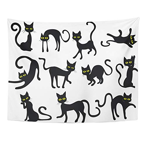 Emvency Tapestry Artwork Wall Hanging Yellow Holloween Black Cats Silhouettes Clip Halloween Eyes Face Clipart Scared 60x80 Inches Tapestries Mattress Tablecloth Curtain Home Decor Print