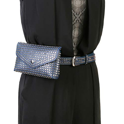 HZMAN Womens Leather Belt Fanny Pack With Removable Belt Metal Spike Studded Waist Pouch Fashion Belt Bags (Blue)