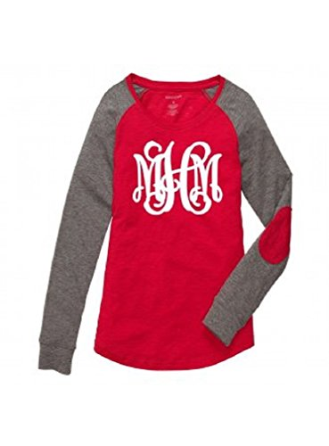 Boxercraft Women's Preppy Patch Long Sleeve Shirt Personalized MONOGRAMMED Red Grey