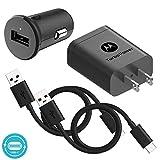 Motorola Essentials USB-C Turbo Charge Bundle: TurboPower 18 USB C Car Charger + TurboPower 18 Charger + 2 Type C 3.3ft Cables for Moto Z, Z2, Z3, X4, G7, G6, G6 Plus [Not for G6 Play] (Retail Box)