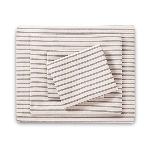 (HONEYMOON HOME FASHIONS Queen Sheet Set Yarn Dyed Khaki Stripe )