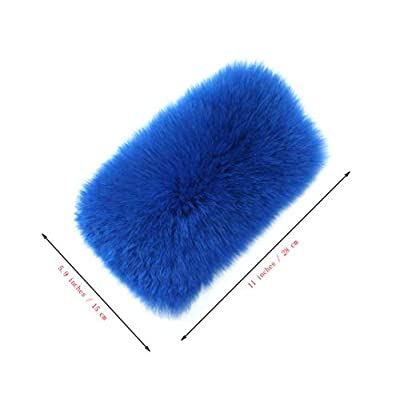 Furry Armrest Cover for Car, Real Sheepskin Wool Fur Soft Fluffy Auto Center Console Cover, Universal Fit, Blue: Automotive