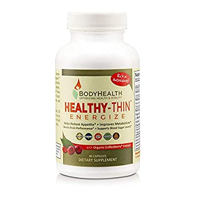 BodyHealth Healthy-Thin Energize 90 Capsules, Weight Loss Dietary Supplement, Appetite Suppressant, Energy & Metabolism Booster, w/Organic Coffee Berry Extract - Antioxidant & Detox Support