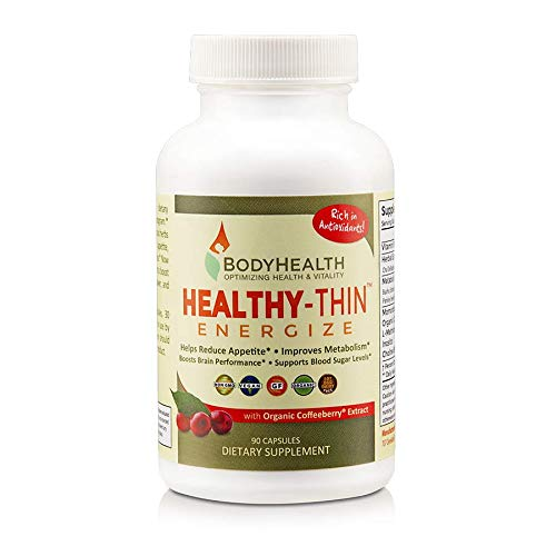 BodyHealth Healthy-Thin Energize (90 Capsules) Weight Loss Dietary Supplement, Appetite Suppressant, Energy & Metabolism Booster, w/Organic Coffee Berry Extract - Antioxidant & Detox Support ()