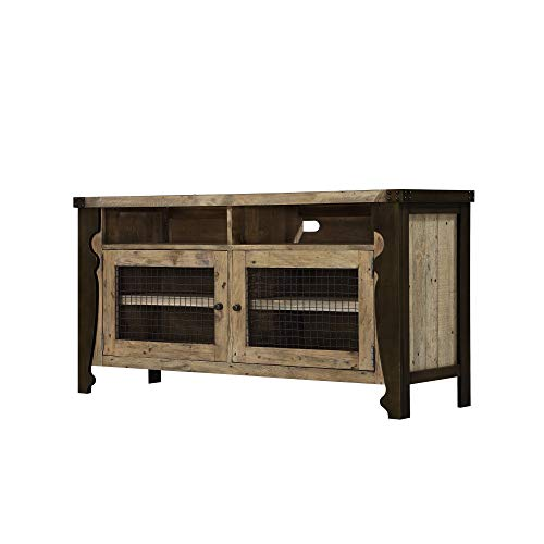Verona Media Console in Natural Pine with Plank Style Top, Wire Mesh Doors, And Open Shelving, by Artum Hill (Pine Set Media Storage)