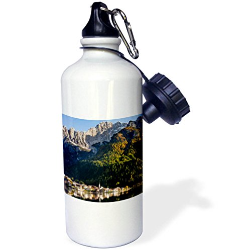 3dRose Danita Delimont - Mountains - Village Alleghe below the Dolomites, Veneto, Italy - 21 oz Sports Water Bottle (wb_277624_1) by 3dRose