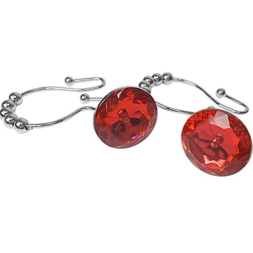 ZILucky Shower Curtain Hooks Rings Double Glide Clear Crystal Stainless Steel Rustproof Metal Hangers Home Bathroom Fashion Decorative, Set of 12 Hooks (Red) by ZILucky
