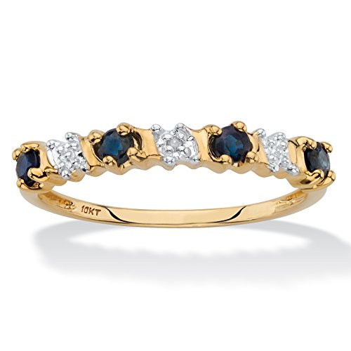 Solid 10k Yellow Gold Round Genuine Blue Sapphire and Diamond Accent Ring Size 6