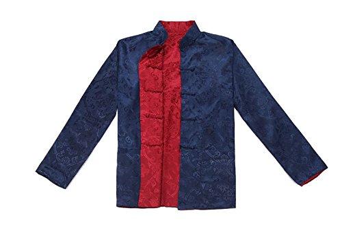 fu Côtés Porté Vêtement Acvip Chinois Tang Chemise rouge Homme Bleu Deux Foncé Rétro Veste De Kung ffB0wx7