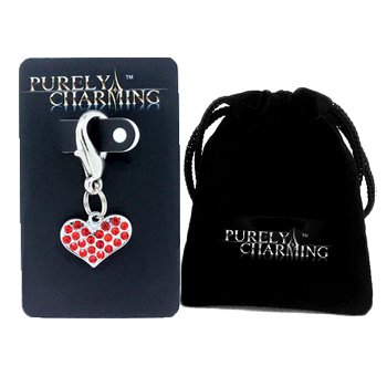 (PURELY CHARMING Pet Charm / Pendant with Handset Swarovski Crystals - Puffed Heart, Siam Red)