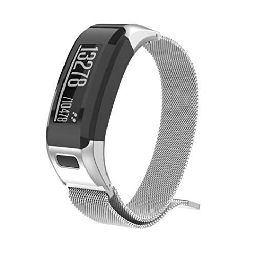 Band Strap For Garmin VIVOsmart HR, Men Women Stainless Steel Milanese Magnetic Loop Watch Band Strap For Garmin VIVOsmart HR (Silver) by FreshZone
