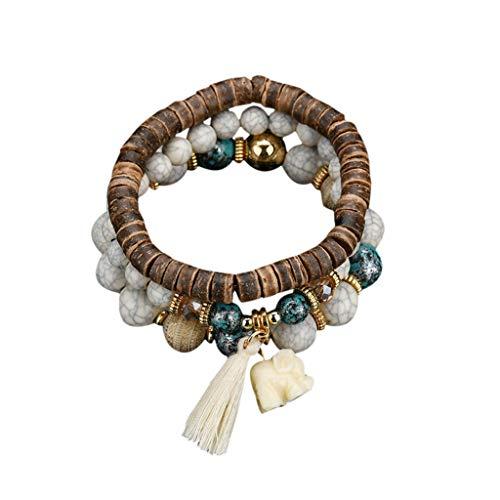 NIHAI 3 Pc Fashion Bracelet for Women Men, Fringed Wood Beads Charm Bracelet, Wild Bracelet Multilayer Bangle Elephant Pendant Cuff Wristband Jewelry ()