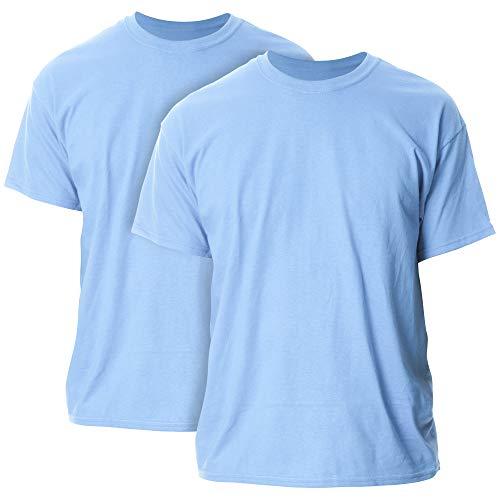 Gildan Men's Heavy Cotton Adult T-Shirt, 2-Pack, Carolina Blue, Medium