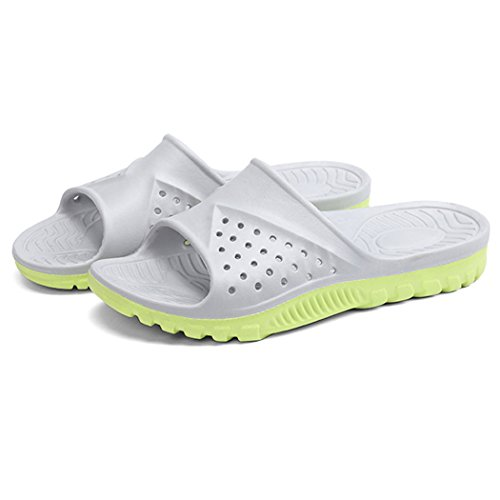 Bathroom Slippers, outgeek 1 Pair Home Sandals Anti Slip EVA Bath Slippers for Men Grey and Green