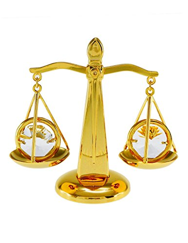 Law Scales of Justice Balance 24k Gold-Plated Ornament with Swarovski Crystals