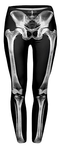 Alive Women's Digital Print High Waist Stretchy Ankle Sexy Leggings Tights (Skeleton)