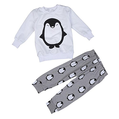 Toraway Toddler Newborn Baby Boys Girls Outfit Clothes Set Penguin Tops + Pants (0-6 Month, White)