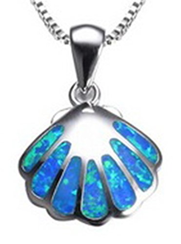 Fortonatori Created Blue Opal Necklace Seashell 925 Silver Pendant Necklace 17