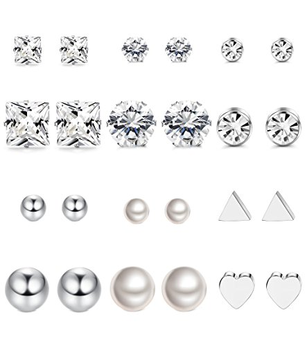 Thunaraz 12Pairs Surgical Steel Stud Earring Set Fake Pearl Earring Ball Triangle Heart CZ Earring Kit - Surgical Stainless Steel Stud