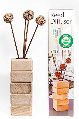 AROMCOM Decorative Reed Diffuser vase, made from natural walnut wood for home decor accents and office decor accents. 100% French Perfume composition, bottle 125 ml of Green Tea Fragrance by Products from Home and Lifer