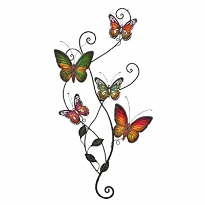 Metal Wall Decor Butterfly Sculpture 29x15 by Asher Home Decorators