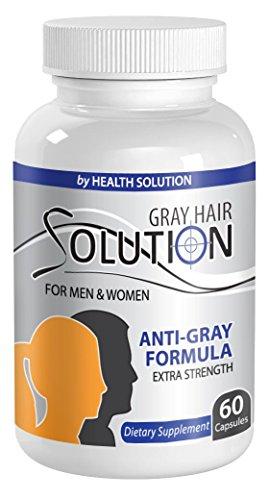 Pure folic acid - GRAY HAIR SOLUTION FOR MEN AND WOMEN - Natural hair color restorer (1 Bottle 60 Capsules)