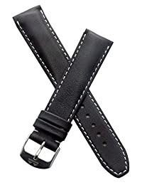 20 mm Classic black calf leather pin buckle strap with white stitching to fit TAG Heuer Formula 1 watches with 20 mm lug width as listed below