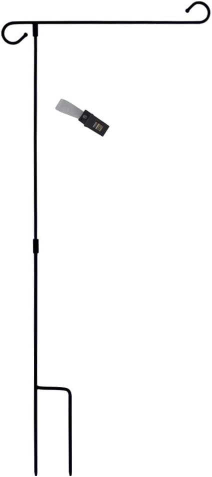 """GISITIO Garden Flag Stand Holder Pole Easy to Install Strong Sturdy Wrought Iron Fits 12.5"""" x 18"""" Mini Flag with 1 Anti-Wind Metal Clip with S Type Without Flag"""
