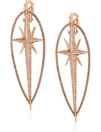 Womens Starburst Pave Statement Earrings