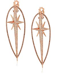 "Michael Kors""Brilliance"" Starburst Pave Rose Gold-Tone Statement Drop Earrings"