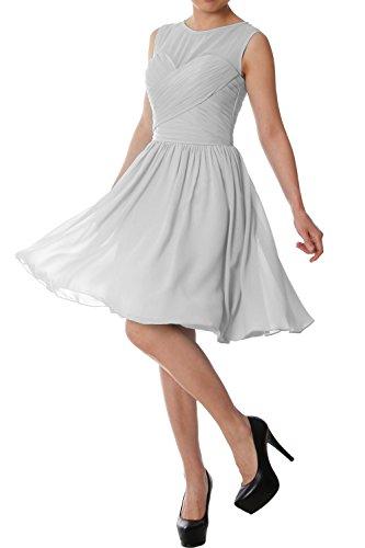 Party Elegant Formal Macloth Chiffon Silver Dress O Wedding Gown Short Bridesmaid Neck U8qwCa8