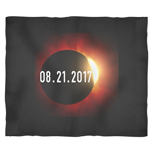 Total Solar Eclipse Date Astronomer Star Scene Fleece Blanket (Large) by The Dreamy Pineapple Company