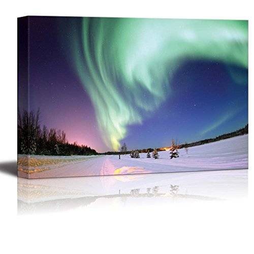 wall26 - Canvas Prints Wall Art - Aurora Borealis Northern Lights | Modern Wall Decor/Home Decoration Stretched Gallery Canvas Wrap Giclee Print. Ready to Hang - 16
