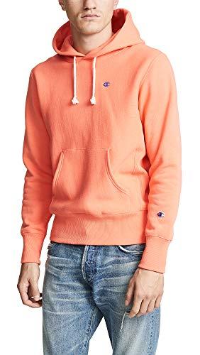- Champion Premium Reverse Weave Men's Hooded Sweatshirt, Rose, Pink, Orange, Large