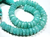 """AA-Amazonite Faceted Wheels Shape Big Rondelles-8"""" Strand-Stone Measures -6-8mm by Gemswholesale"""