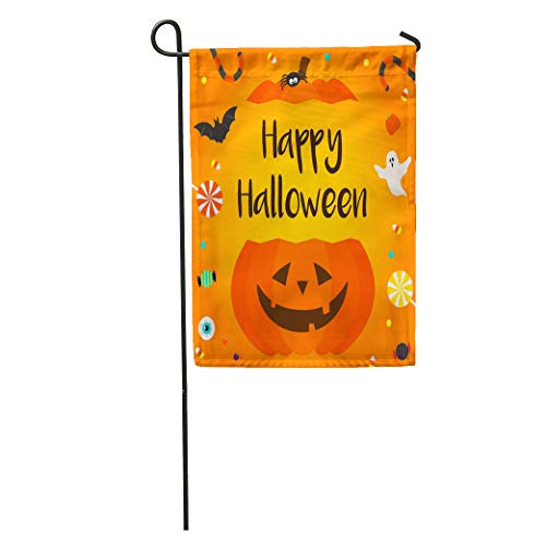 Semtomn Garden Flag Colorful Bat Happy Halloween Candies Pumpkin Bucket on Orange Black Home Yard House Decor Barnner Outdoor Stand 28x40 Inches Flag -