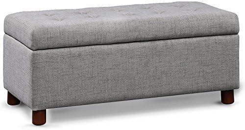 Merax Bench Rectangular Storage Ottoman grey