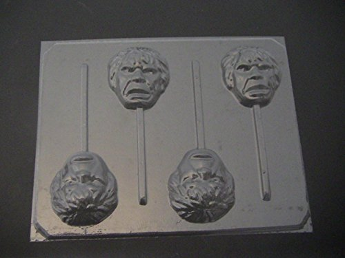 Green Hunky Man Face Chocolate Candy Lollipop Mold Hulk