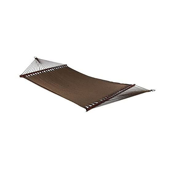 Sunnydaze Polyester Rope Hammock, Large Double Wide Two Person with Spreader Bars - for Outdoor Patio, Yard, and Porch - Mocha - PERFECT SIZE: Large tree hammock is 55 inch wide x 133 inch long, weighs 19 pounds. Bed is 55 inch wide x 88 inch long, and has a weight capacity of 600 pounds. VERSATILE USE: Portable hammock can be tied between trees, poles, or be used with a 12-foot stand (Stand not included). Can also be used as a replacement hammock. COMFORT AND STYLE: Outdoor hammock is made from tightly woven soft spun polyester rope, which is superior and longer lasting than cotton. The wood spreader bars allows for extra stability and style. - patio-furniture, patio, hammocks - 41uNGmc4z2L. SS570  -