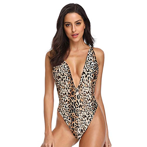 Dixperfect Women's Sexy Deep V-Neck One Piece Bathing Suit Plunge Side Scoop Swimsuit Monokini (XL, Leopard) ()